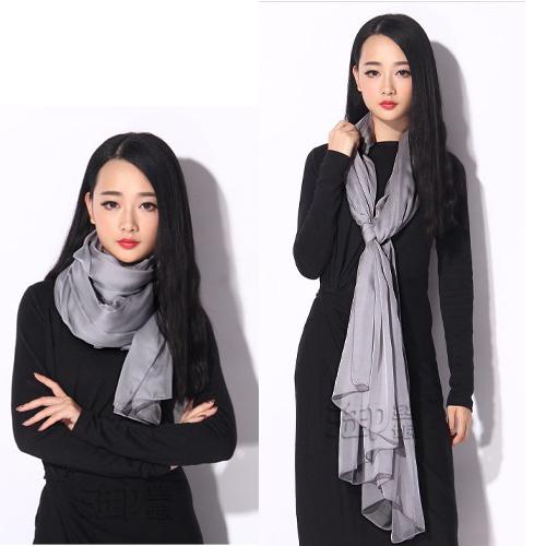 高档灰色丝巾长款桑蚕丝正品纯色春秋冬季女真丝超大围巾韩版两用