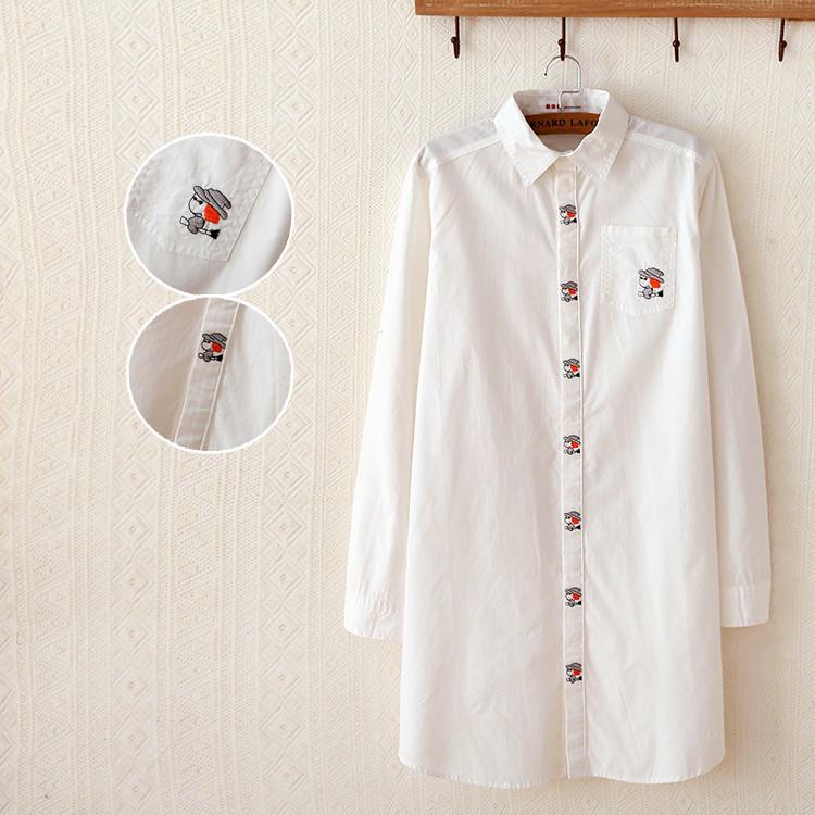 2015热销女装春季新款女式衬衫 韩版纯色大码翻领刺绣长款白衬衫