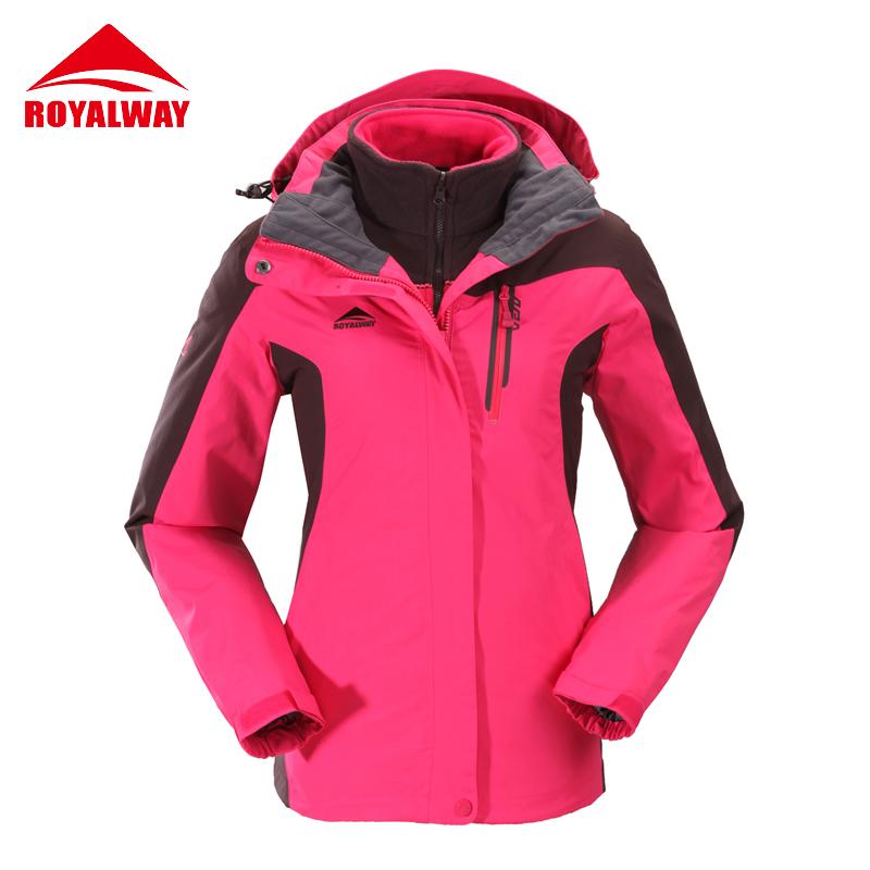 royalway美户正品户外冲锋衣女三合一两件套防风防水保暖韩版修身