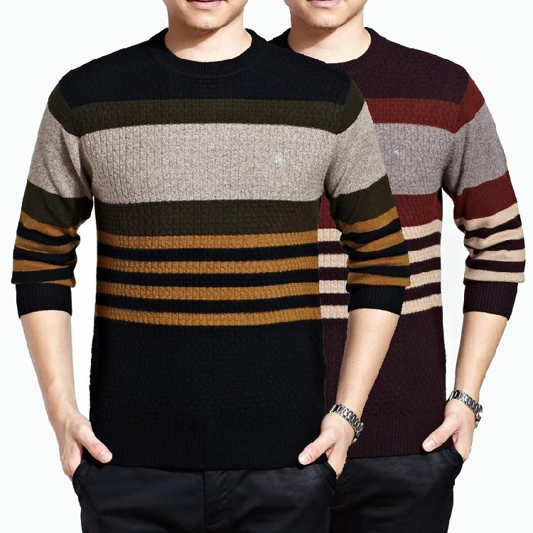2014新款品牌冬装男装加厚毛衣男士商务休闲圆领山羊绒保暖羊毛衫