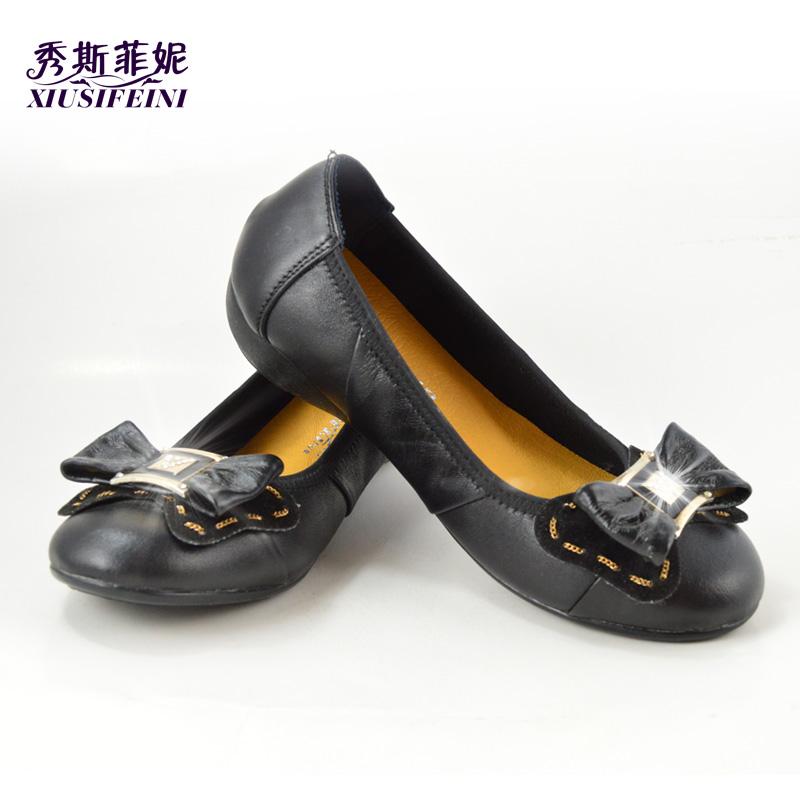 2014秋冬新款通勤工作鞋女平跟蝴蝶结平底鞋低跟真皮低帮女鞋单鞋