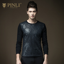 PINLI品立 春季新品男装修身纯色圆领长袖T恤男打底衫B163211081