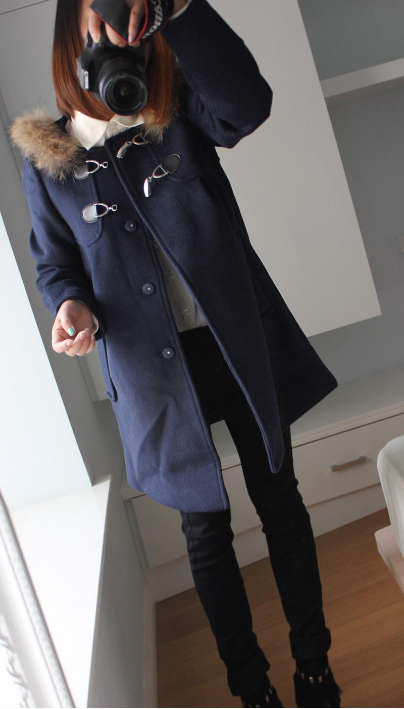 2014秋冬新款斗篷毛呢大衣 女中长款韩版时尚毛呢外套 毛领可脱卸