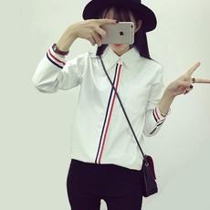 韩范冬季纯棉女装加绒加厚衫衣学院风宽松大码外套长袖工作服衬衫