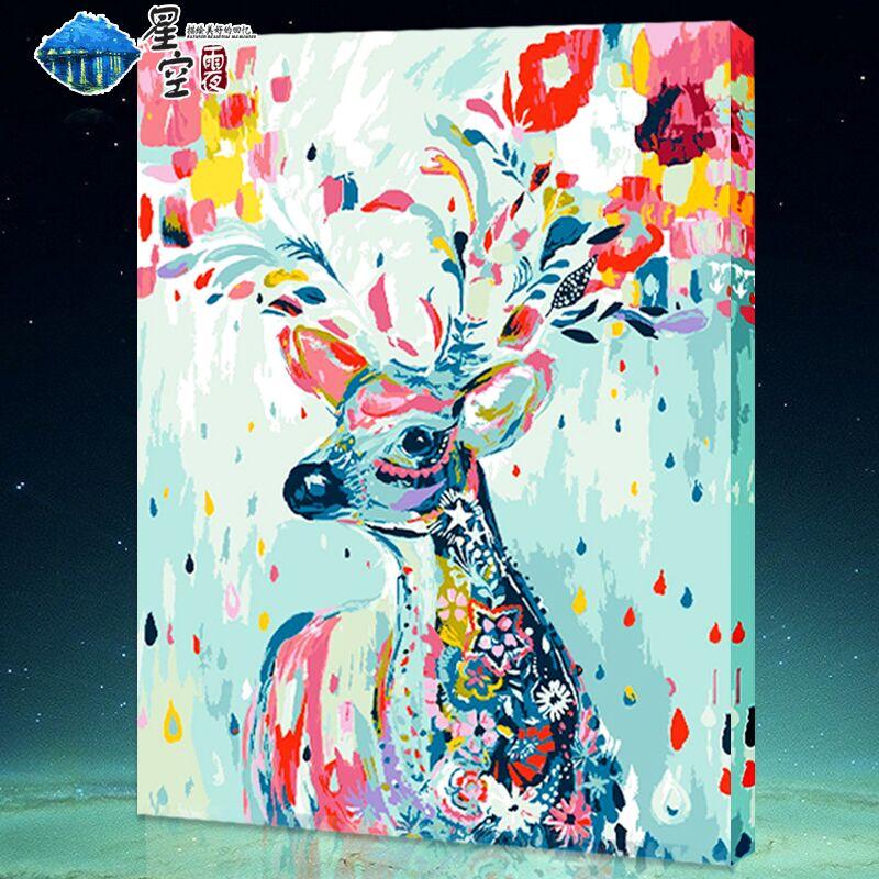 雨夜diy数字油画风景花卉动漫人物填色画大幅手绘