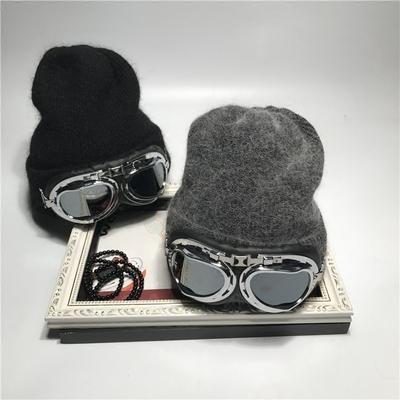 【天天特价】帽子女秋冬季韩国兔羊毛眼镜毛线帽潮韩版百搭针织帽