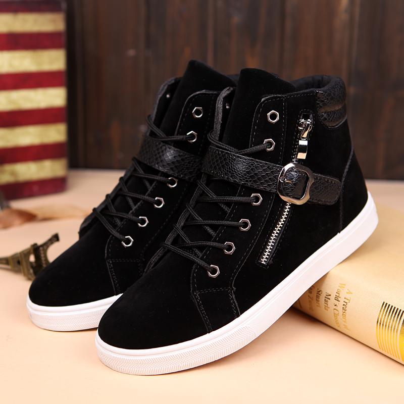 冬季款保暖男士棉鞋高帮鞋板鞋黑色休闲鞋青年帆布鞋韩版英伦鞋子