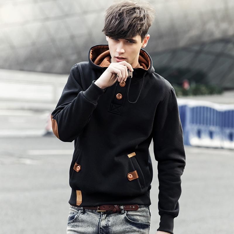 青少年韩版男士棒球服卫衣秋加绒修身冬季连帽外套男2014新款男装