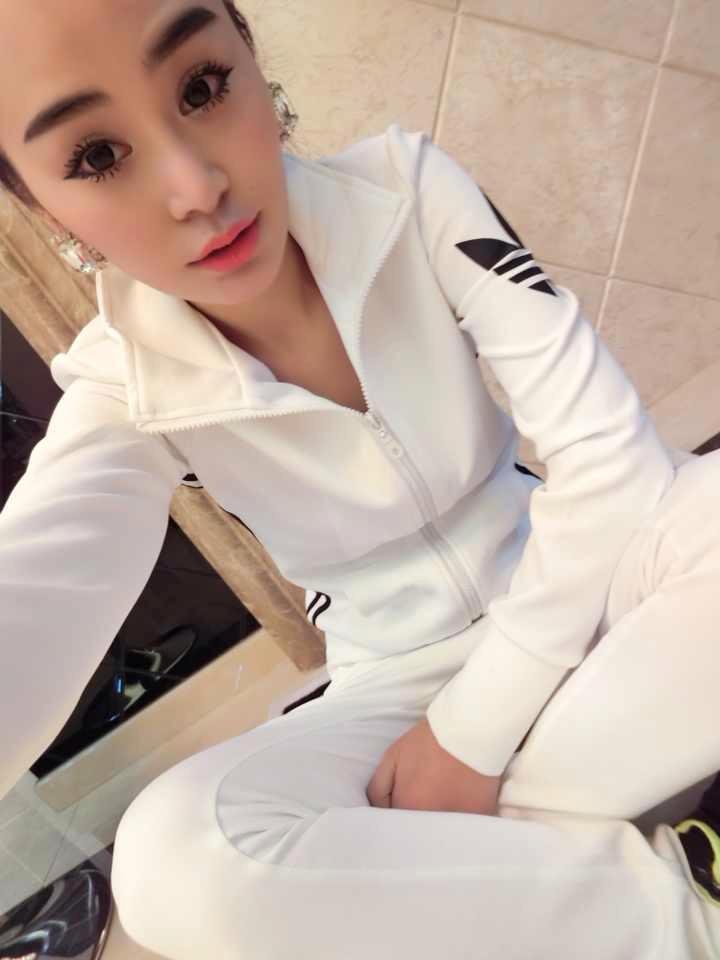 春秋装新款运动套装 女休闲立领修身运动服卫衣套装潮