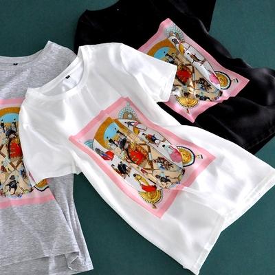 真丝纯棉短袖百搭圆领上衣印花丝光棉宽松大码桑蚕丝精品T恤女