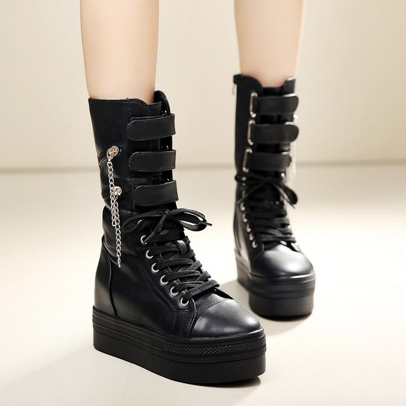 馬丁平底厚底松糕鞋韓版增高鞋中筒靴演出坡跟機車春秋