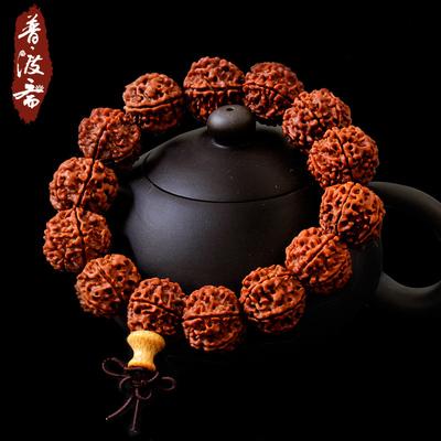 普渡斋六瓣尼泊尔天然金刚菩提子精挑手链 高密红皮单圈佛珠手串