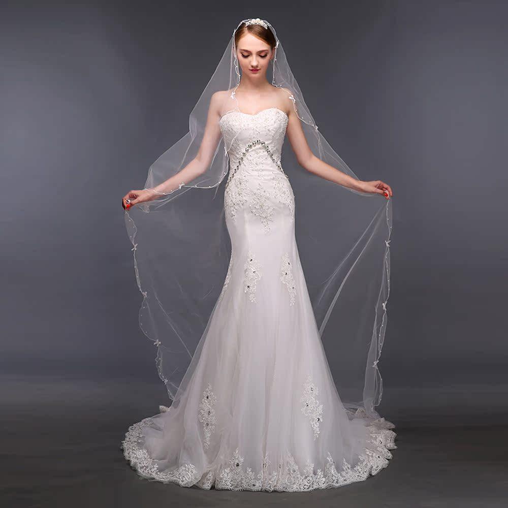婚纱头纱软超长新娘头纱婚纱新款蕾丝结婚韩式配饰拖尾长头纱057