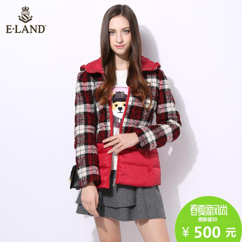 ELAND衣恋短款格子羽绒服EEJD54T53B专柜正品