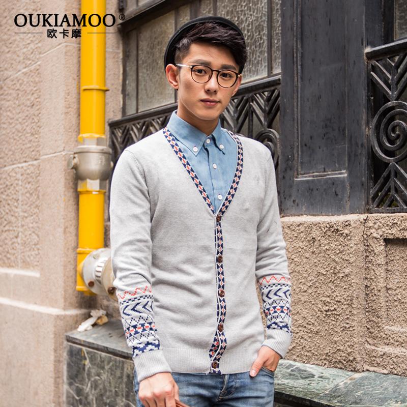欧卡摩秋冬新款男士v领针织开衫男装提花毛衣外套民族风韩版热卖