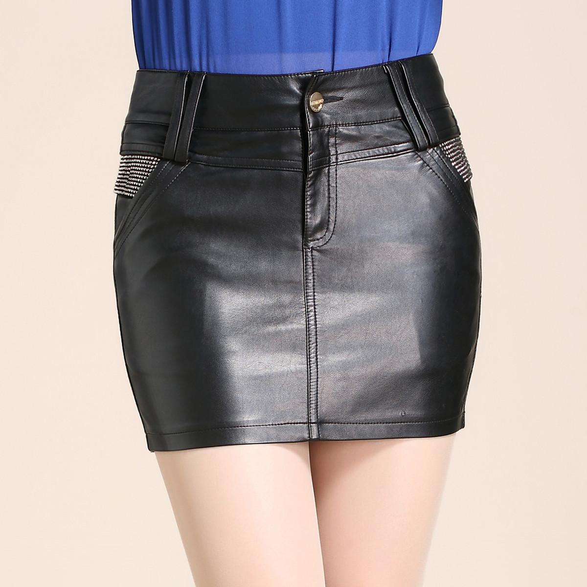 冬季新款皮短裙女大码亮钻显瘦修身PU皮短裙半身包臀裙女装短皮裙