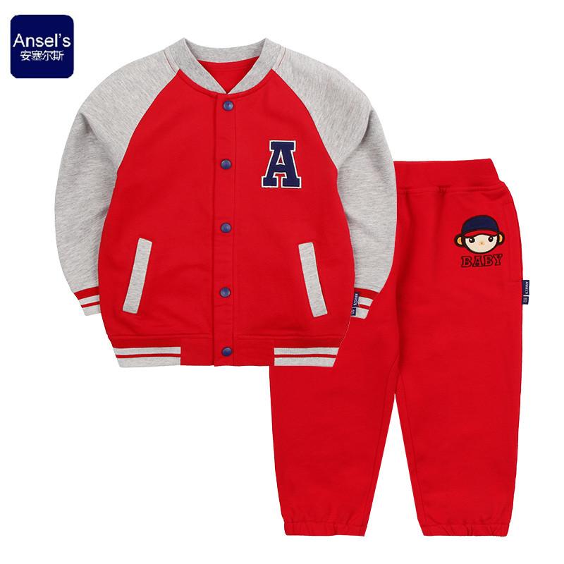 安塞尔斯2015春装新款童装男女宝宝儿童纯棉棒球衣卫衣外出服套装