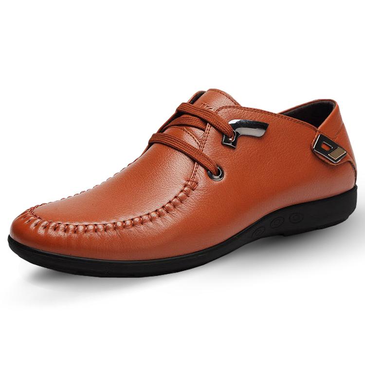 红蜻蜓男鞋 秋冬新款真皮皮鞋 男士商务休闲低帮系带牛皮鞋