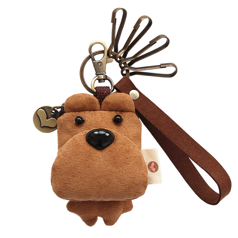 原创囧囧熊钥匙扣三色补丁钥匙挂件韩国可爱男女汽车U盘扣硬币包