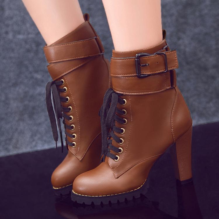 2014秋冬新品女马丁靴纯色圆头皮带扣前系带中筒粗跟时尚女单靴