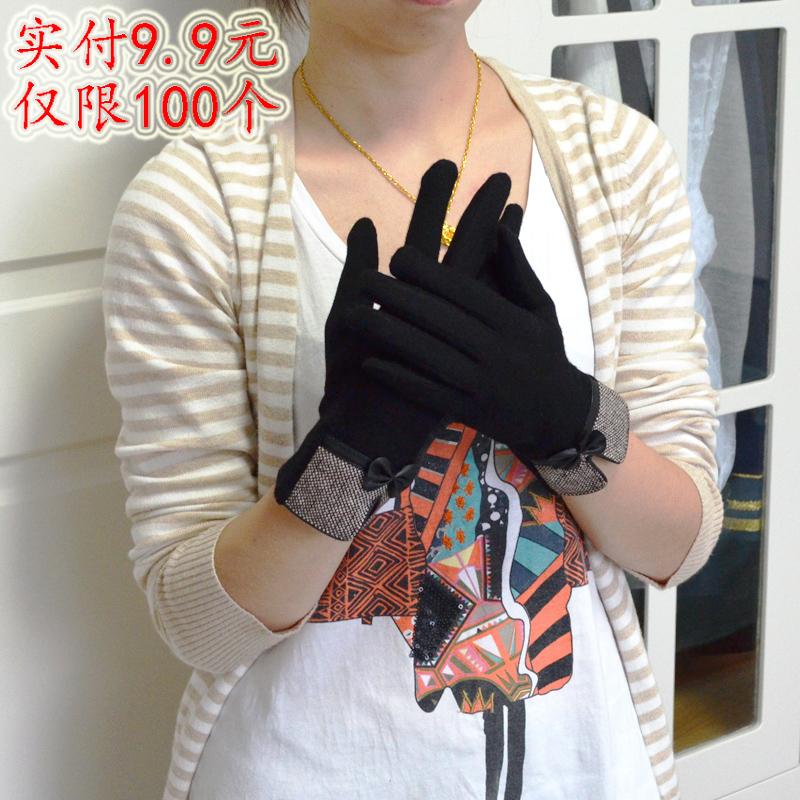 包邮秋冬季2014新款保暖加绒女士手套可爱分指触屏女羊绒手套