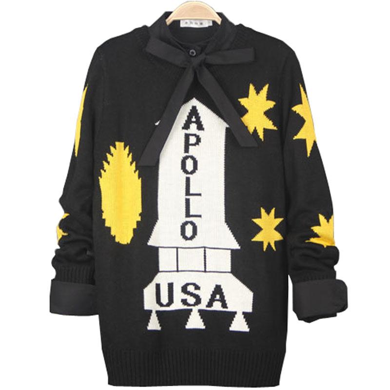 Angelababy杨颖明星同款2014秋冬系列阿波罗13号针织上衣黑色毛衣