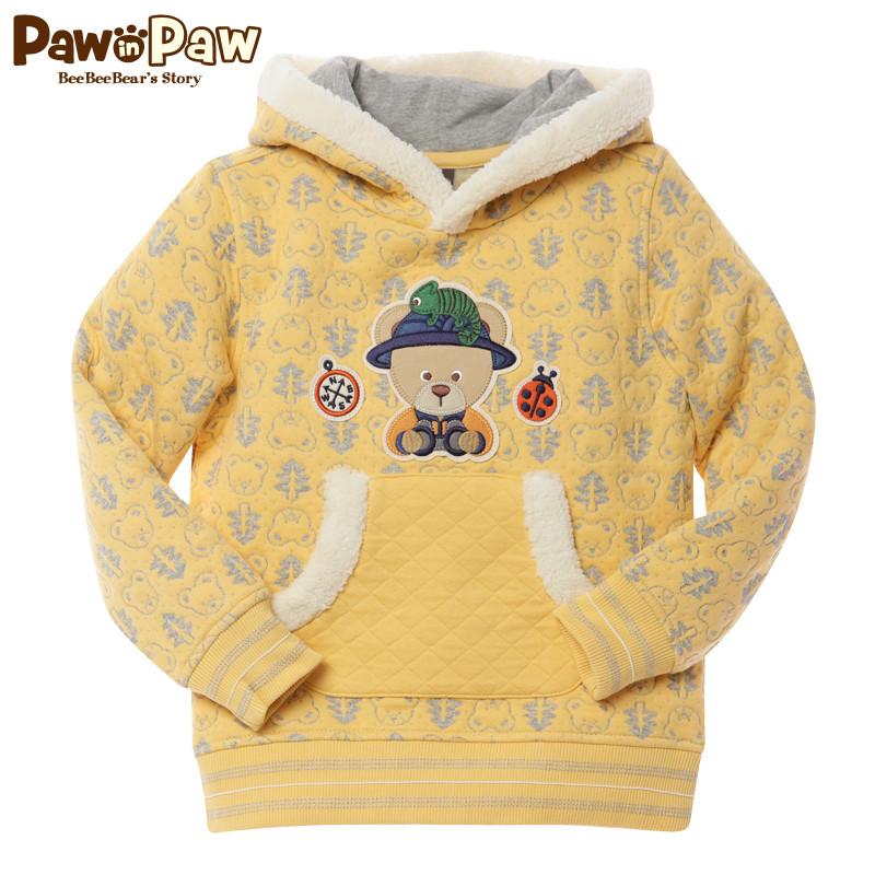 Pawinpaw宝英宝韩国童装男童冬款卡通小熊连帽卫衣PCMA34T22M