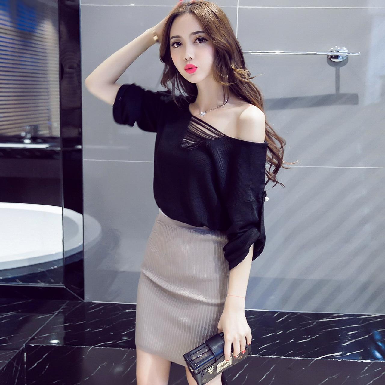 潮韓版秋裝春裝兩件套氣質性感名媛時尚套裝針織