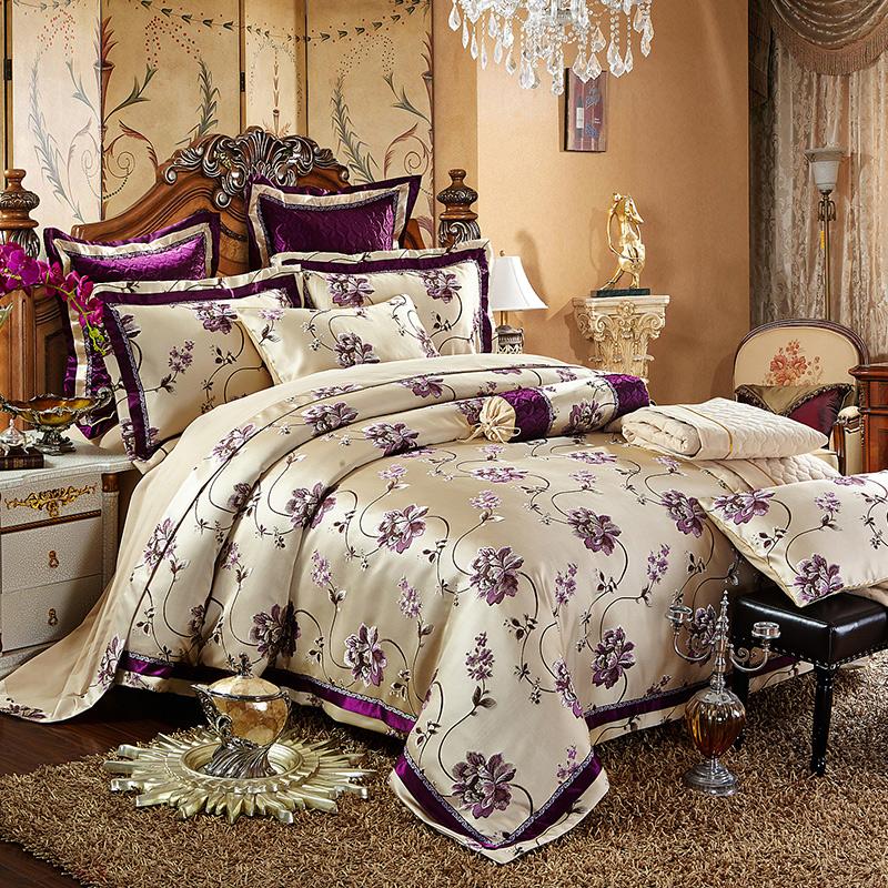 欧式床上用品豪华样板房间床品贡缎全棉四件套婚庆床品套件多件套图片