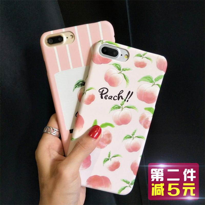 永合 苹果7手机壳日韩清新水果桃子iphone7plus硬壳创意女款可爱