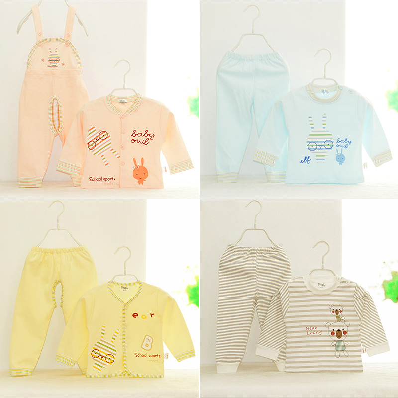 婴儿对开扣内衣套装纯棉宝宝内衣套装儿童内衣套装纯棉秋冬两件套