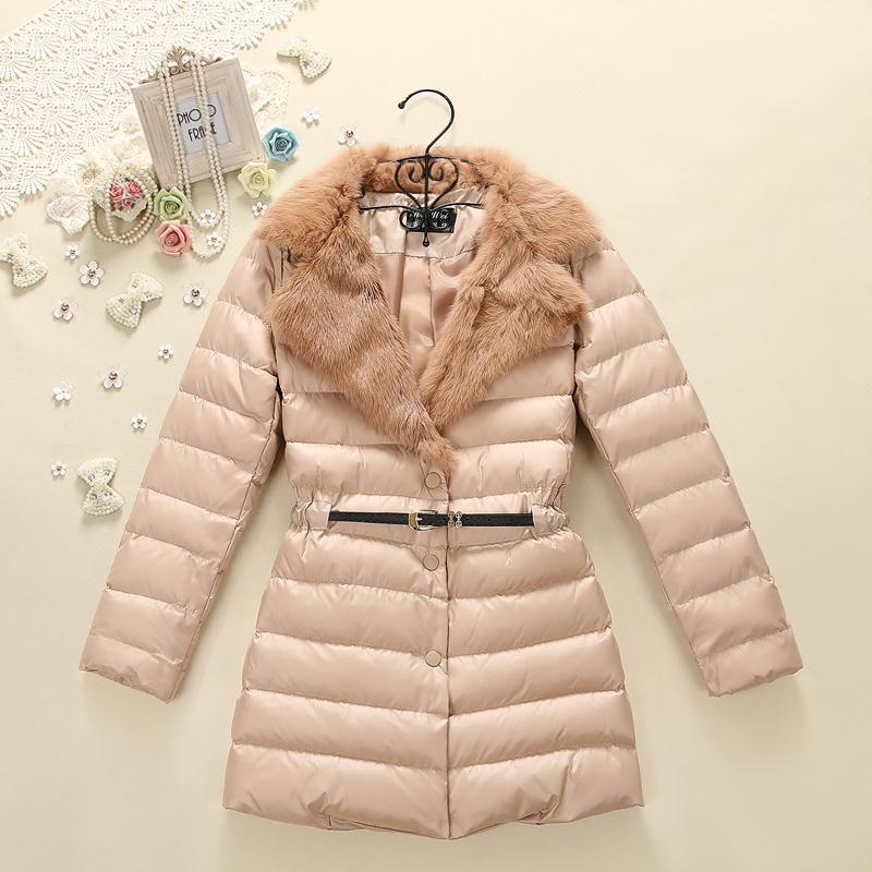 2014冬季新款韩版羽绒棉衣棉服中长款带毛领甜美超保暖修身Z5862