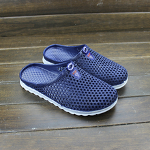 包头男鞋 子休闲凉拖潮流洞洞镂空塑料一字拖鞋 透气拖鞋 夏季男士