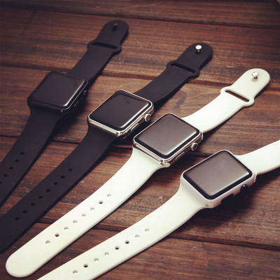 韩版潮男女款学生苹果数字式方形黑白led青少年防水情侣电子手表