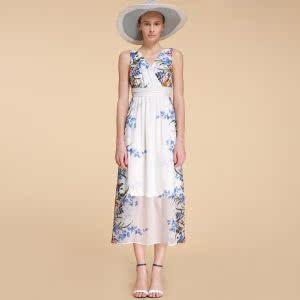 歌力姿2014夏装新款印花甜美长款无袖雪纺连衣裙高腰裙147C4A27A