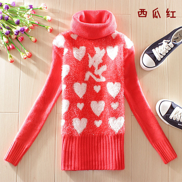 2014新款韩版秋冬学生装可爱修身高领长袖毛衣加厚11-13-15-17岁