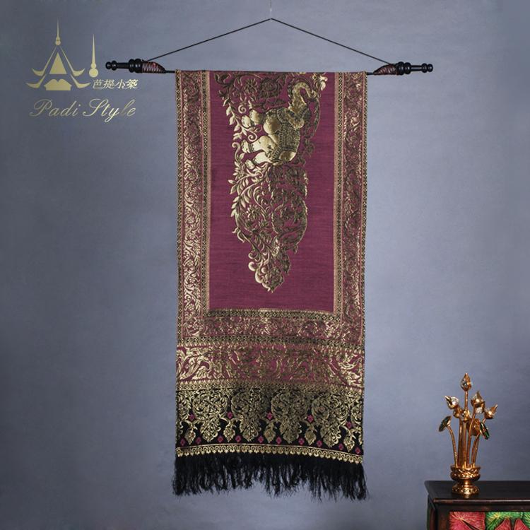泰国手工布艺墙饰东南亚桌旗桌布居家壁饰客厅旗帜装饰品挂饰挂布