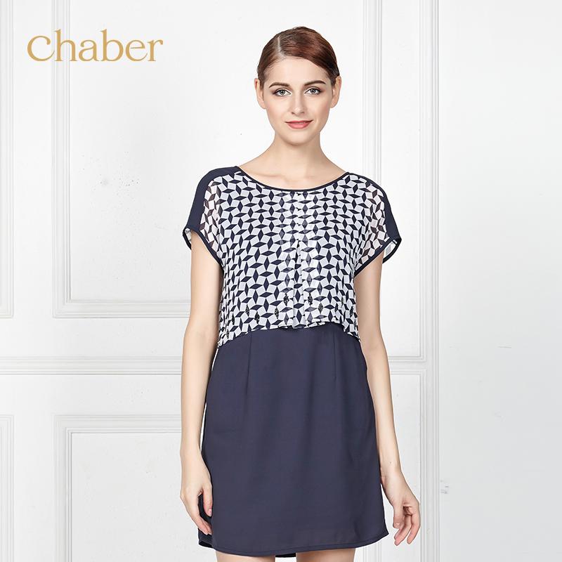 chaber/巧帛2015新款格子系带宽松休闲 短袖雪纺连衣裙152707