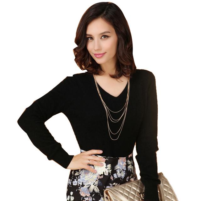 千黛慕兰冬新款修身羊绒衫女短款羊绒毛衣套头打底衫