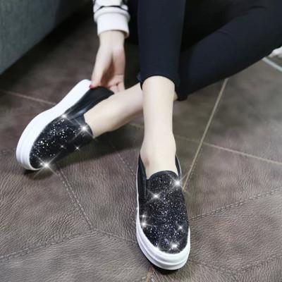 新款低帮亮片一脚蹬懒人鞋厚底松糕鞋帆布鞋女休闲鞋乐福鞋女鞋子