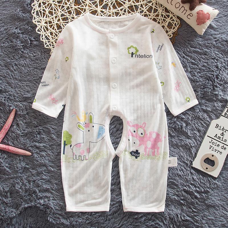 兒童連體哈衣開檔爬爬服嬰兒寶寶夏裝睡衣夏季長袖新生兒