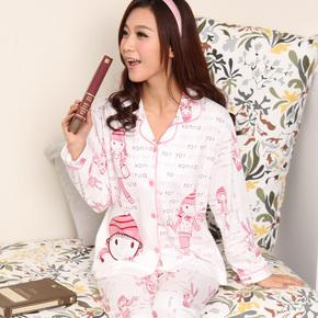 新款春秋季女士翻领开衫针织棉睡衣可爱卡通棉质长袖家居服套装
