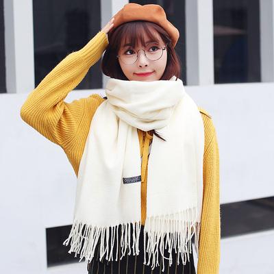 兰色春天16新款纯色流苏围巾女士冬季加长保暖披肩多用韩版围巾女