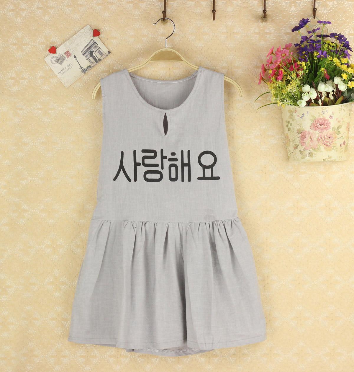 韩国东大门 灰色显瘦OL气质韩文印花打底棉麻 百搭简约短连衣裙