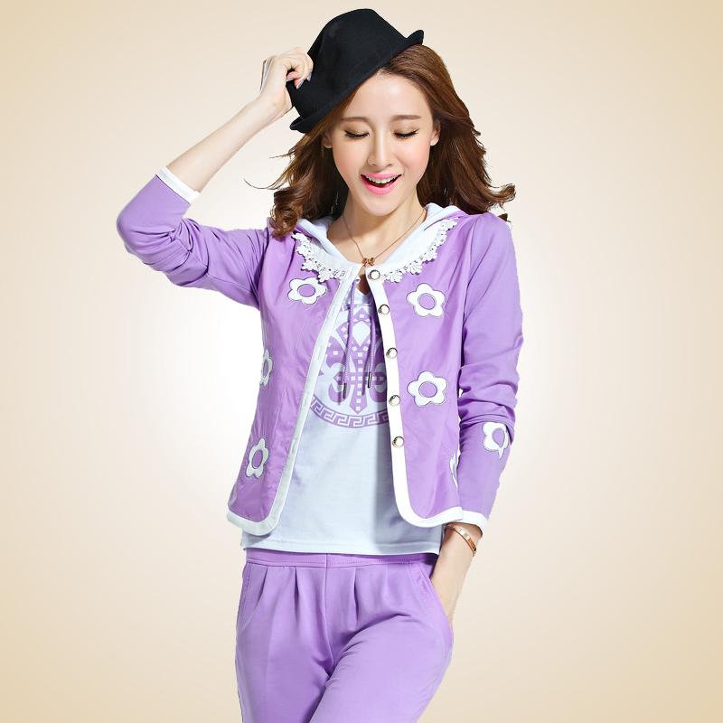 2015春装新款运动套装女韩版时尚女士卫衣三件套大码修身休闲套装