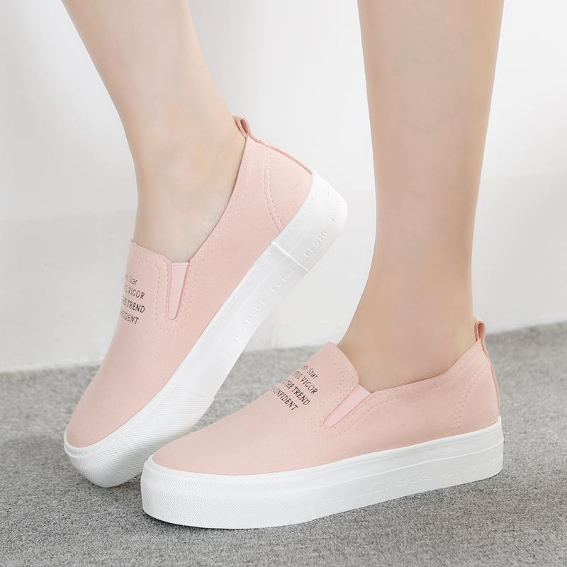 帆布鞋亮片春季 人本 韩版厚底套脚懒人皮面松糕鞋蹬一脚套