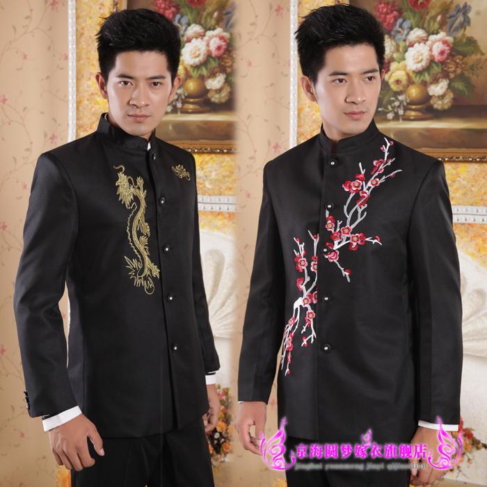 刺绣梅花绣龙中山装立领中国风男士礼服新郎结婚伴郎影楼大码套装