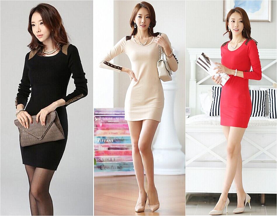 秋冬新款女装韩版OL修身气质长袖连衣裙时尚圆领包臀打底裙显瘦潮