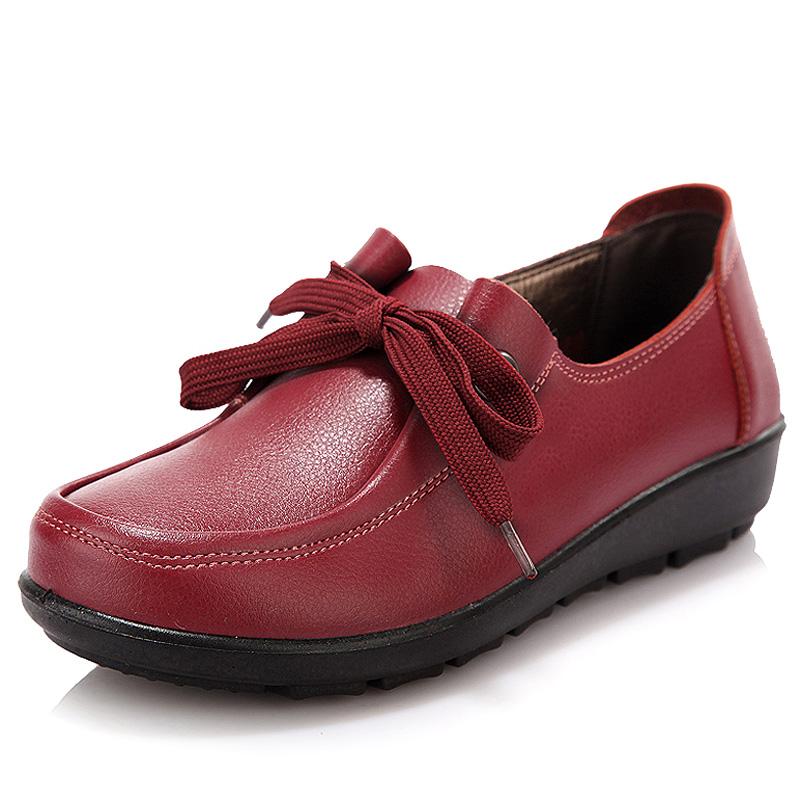 贞鸽2014秋款坡跟舒适休闲真皮女鞋单鞋中老年软底系带妈妈鞋皮鞋