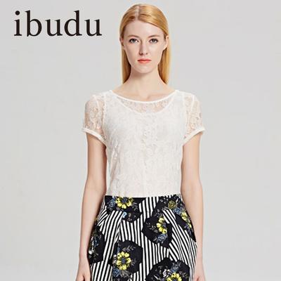 ibudu夏装圆领修身百搭短袖打底衫两件套吊带蕾丝衫女Y4225030W7